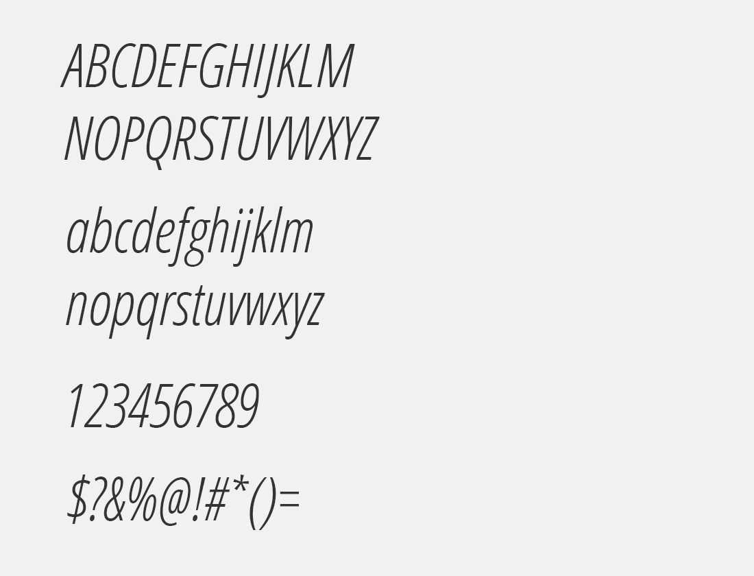 06 Open Sans Condensed Light italic font