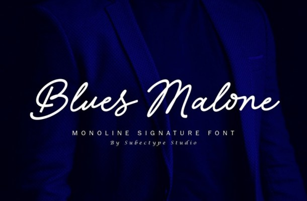 Blues Malone Monoline Signature Font