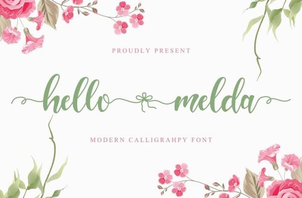 Hello Melda Modern Calligraphy Font