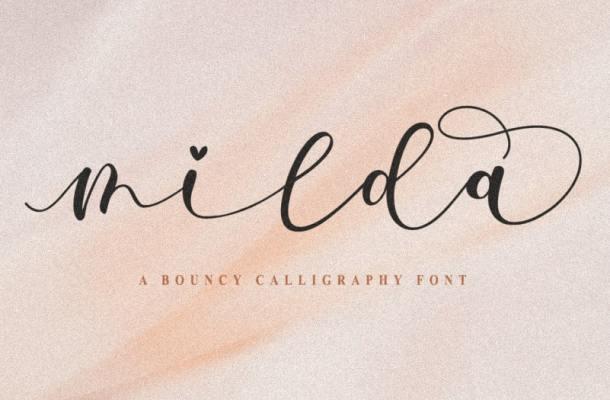 Milda Bouncy Calligraphy Script Font