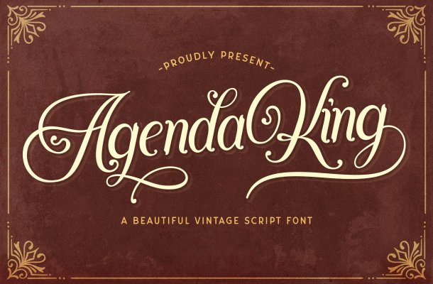 Agenda King Calligraphy Vintage Script Font
