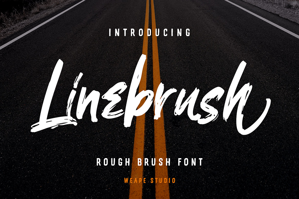Linebrush Rough Brush Script Font-1
