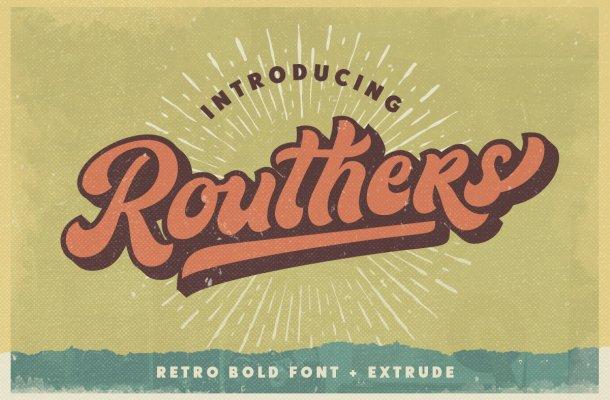 Routhers Retro Bold Script Font
