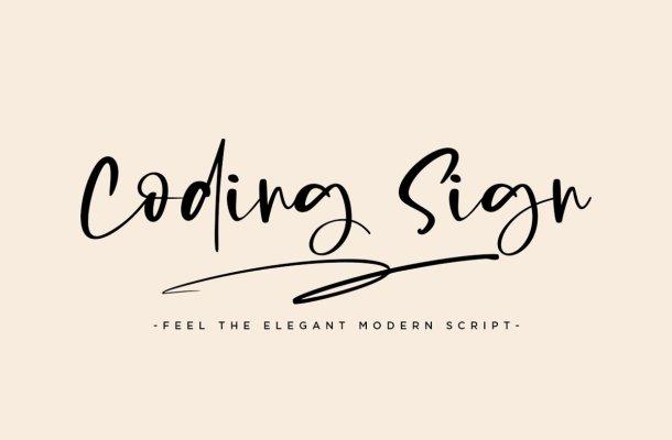 Coding Sign Handwritten Bounce Script Font