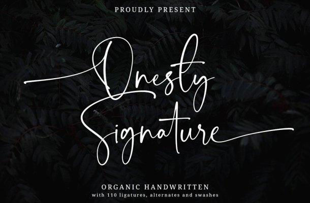 Onesty Signature Font