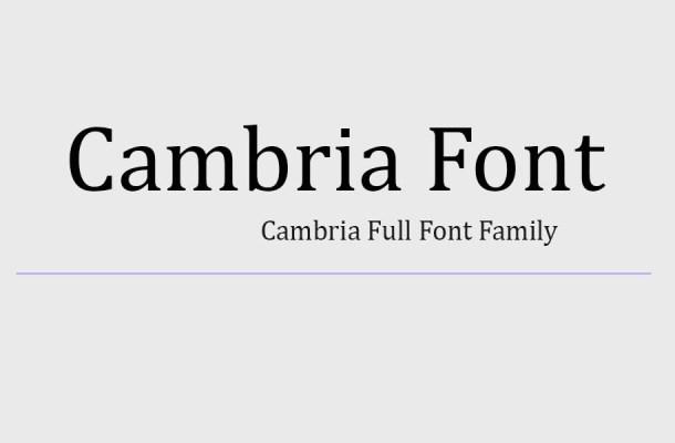 Cambria Font