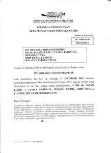 sijil pendaftaran perniagaan syarikat ssm suruhanjaya syarikat malaysia