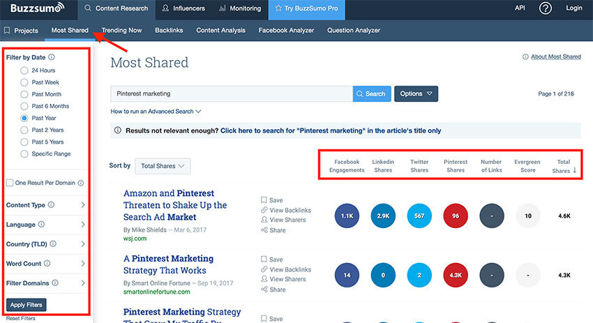 Buzzsumo for new blog post ideas from trending contents and social shares