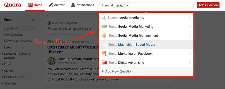 Quora keyword search related topics