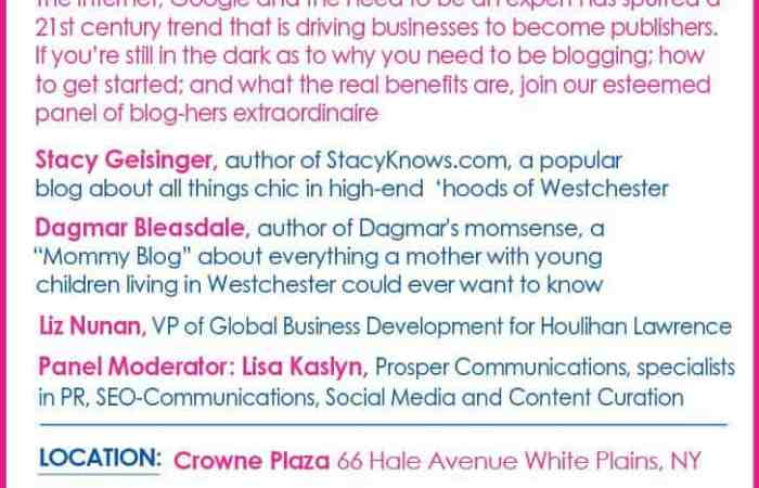 I'm Speaking in Westchester About The Business of Blogging