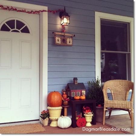 DIY fall decor on porch