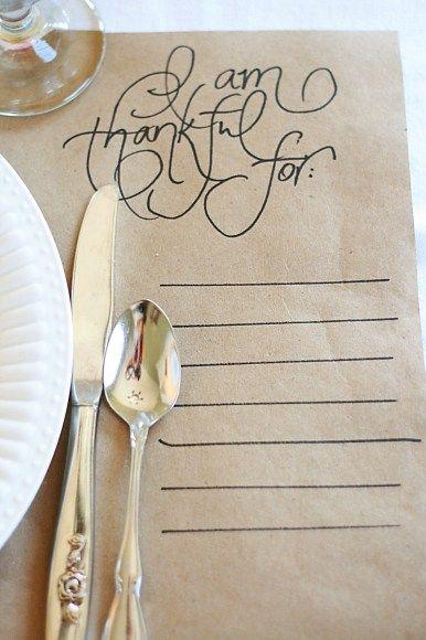 DIY Thanksgiving placemats