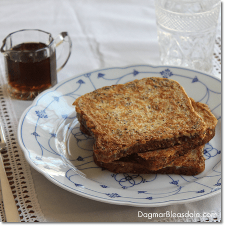 French toast recipe with Silk Almond Milk and chia seeds