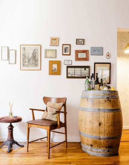 gallery wall, vintage wine barrel bar