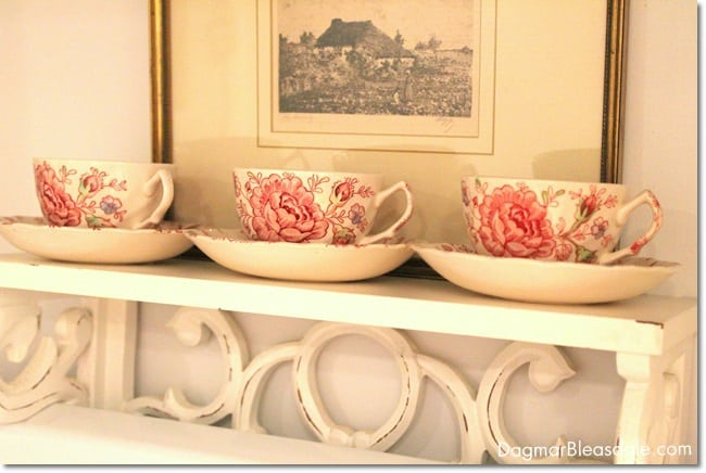 vintage Rose Chintz teacups on shelf