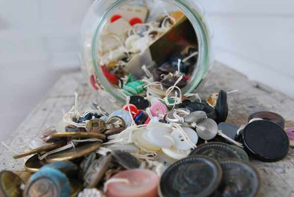mason jar with vintage buttons