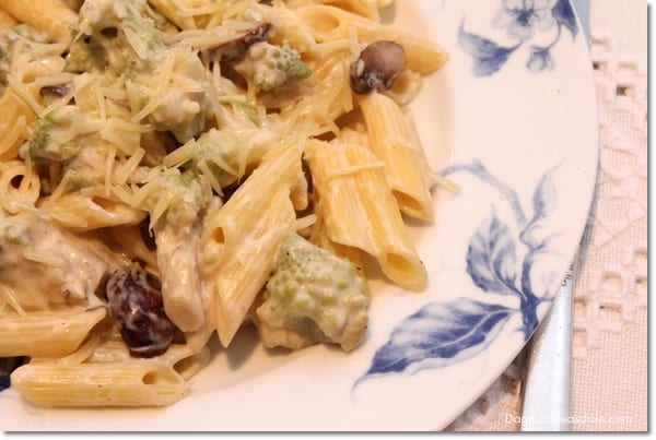Gluten Free Pasta Recipe: Broccoflower and Mushroom Pasta With Gruyere Sauce