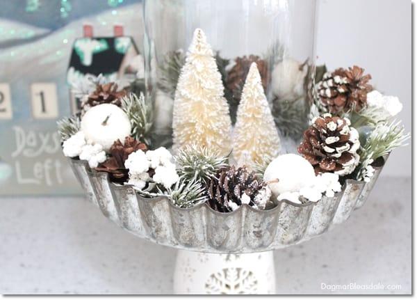 DIY Pie Tin and Bottle Brush Tree Centerpiece