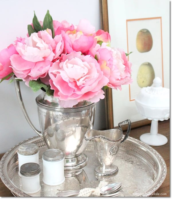 vintage silver tray and pitcher with peonies, DagmarBleasdale.com