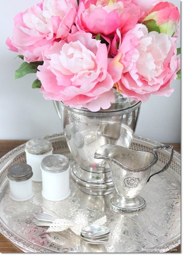 peonies in vintage silver water pitcher, DagmarBleasdale.com