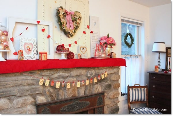 Valentine's Day Mantel Decor in the Blue Cottage