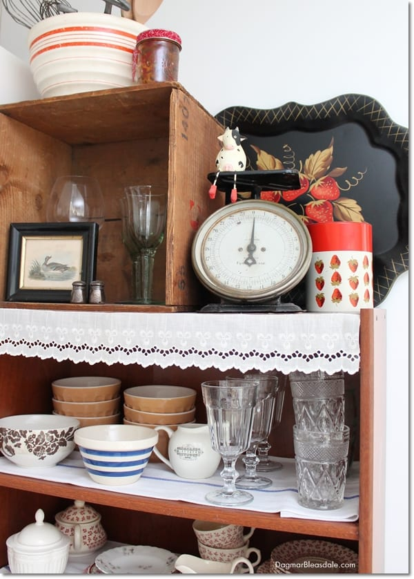vintage items with strawberry decor
