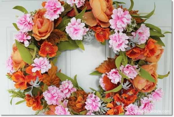 DIY fall wreath with orange and pink