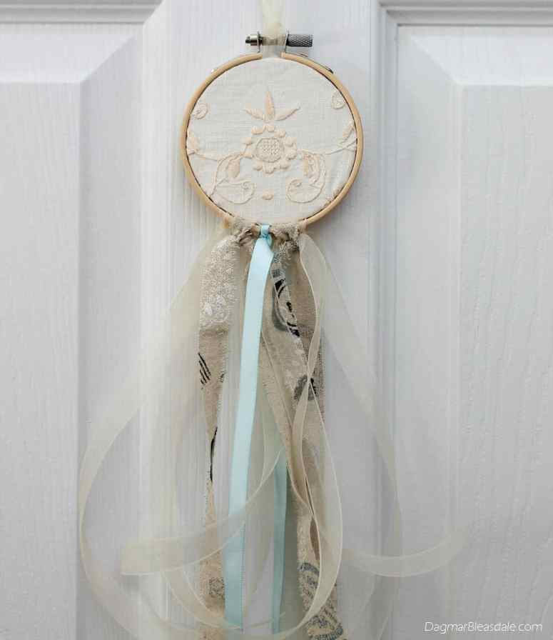 DIY dreamcatcher with ribbon, doily, and embroidery hoop, DagmarBleasdale.com