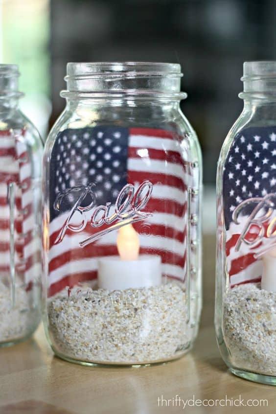 patriotic mason jar with flag
