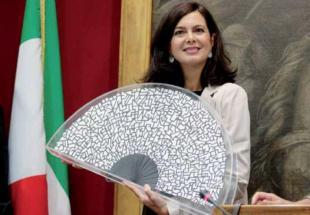 LAURA BOLDRINI ALLA CERIMONIA DEL VENTAGLIO A MONTECITORIO