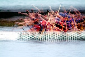 Photo impressionistic image of dragon boat racers by Stephen D'Agostino. an example of photo impressionism using the multiple exposure technique.