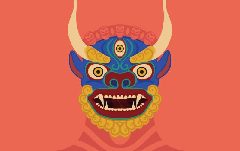 Illustrazioni maschere Cham buddiste