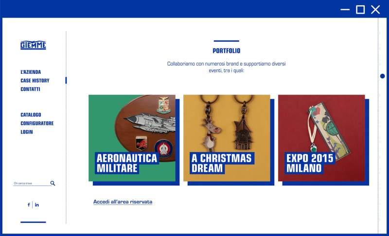 Esempio schermata pagina sito web Giemme