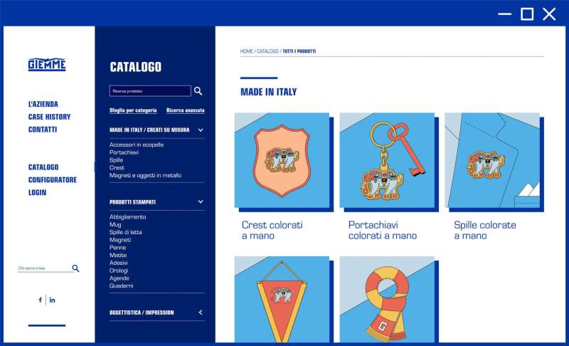 Pagina catalogo UI sito web Giemme