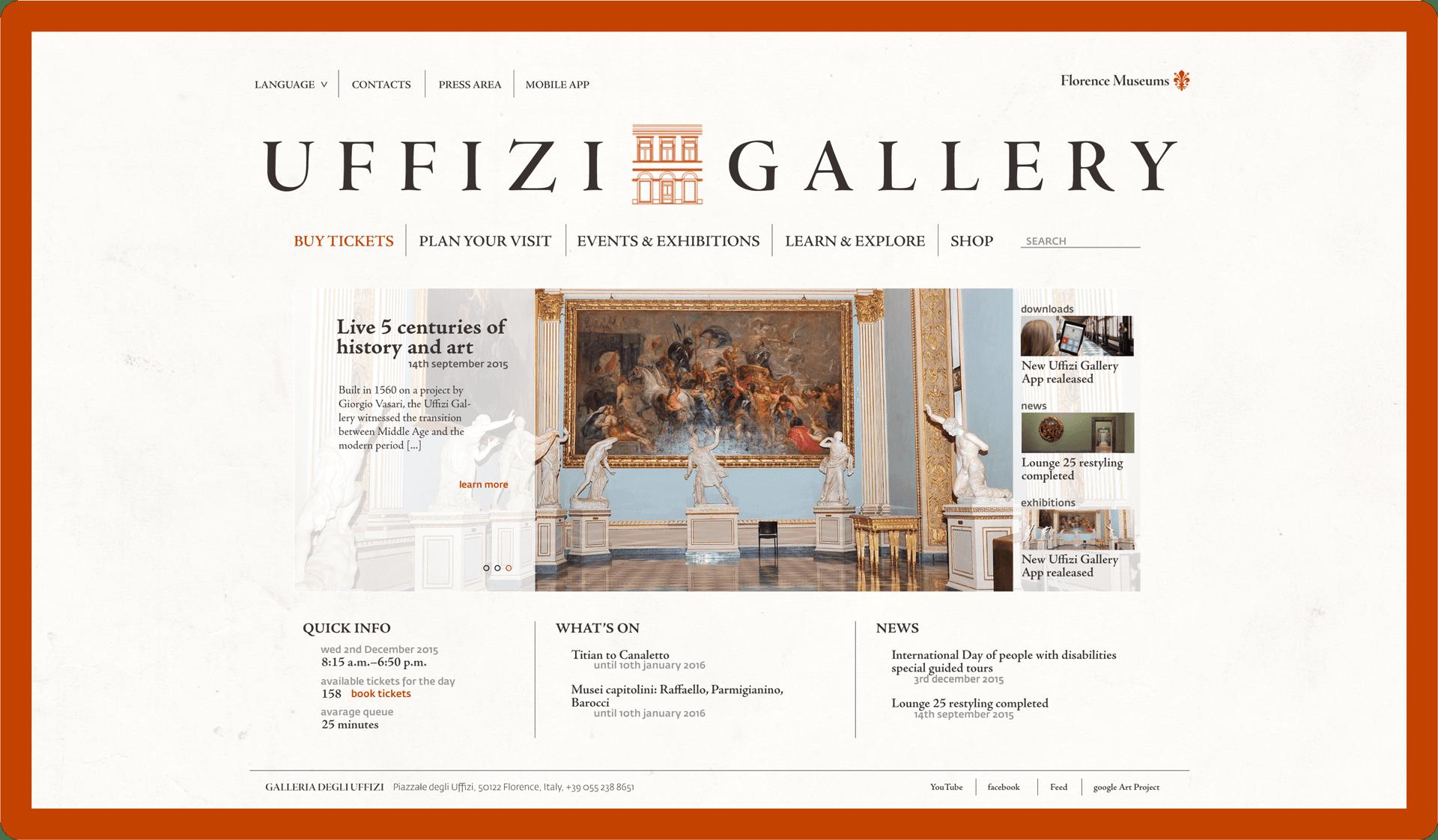 Web Design sito web Galleria Uffizi