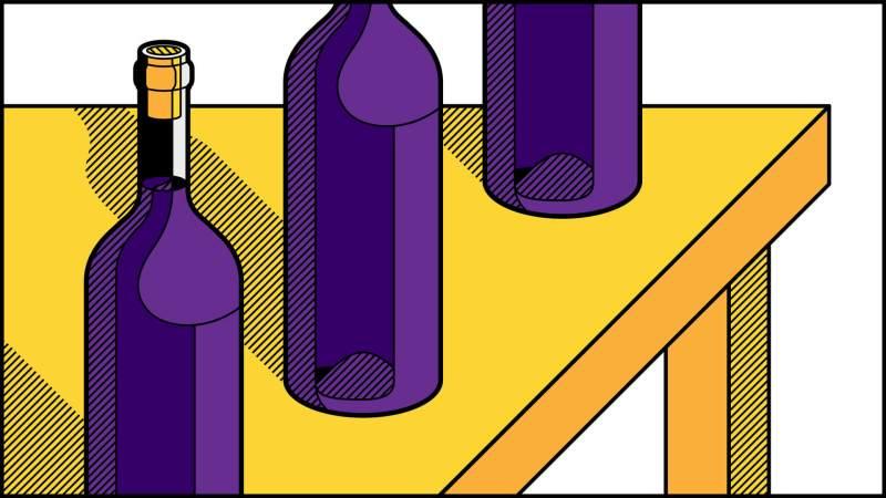Illustrazione bottiglie vino pop art