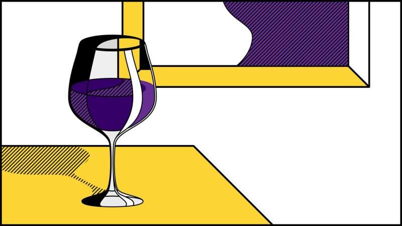 Illustrazione bicchiere vino pop art