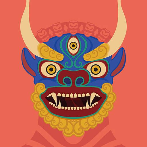 Illustrazione maschere tradizionali