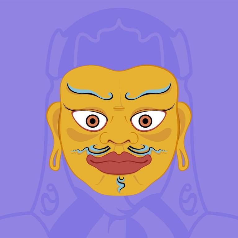 Illustrazione maschera buddista indiana - Guru Padmavajra
