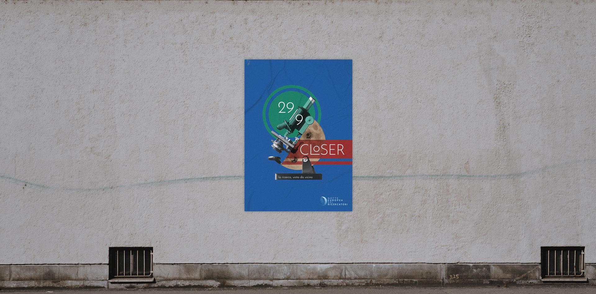 Poster Notte dei Ricercatori su muro