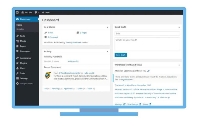 Cos'è WordPress: Pannello di controllo di WordPress