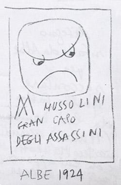 Abbasso Mussolini - vignetta Albe Steiner