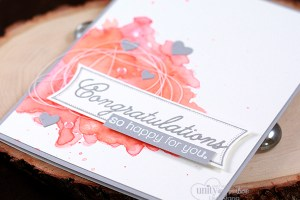 Tutorial and video on how to create the watercolor background for this handmade card. Featuring Unity Stamp Co stamp kit - Basically Said.