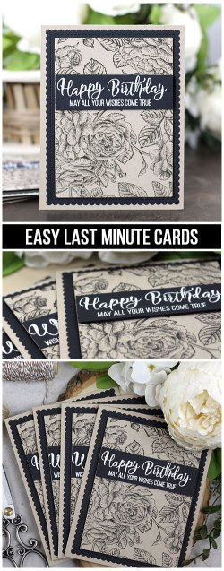 Sharing a card idea for quick cards needed at the last minute with a tutorial and video. The images are from the Botanical Background and Good Things with Wings Unity Stamp Company stamp sets. More inspiration on dahlhouse-designs.com.   #cardmaking #cardmaker #cards #stamping #dahlhousedesigns #unitystampco #ideas #diy #howto #tutorial #video #handmadecards #diecutting #brutusmonroe #embossing #birthday