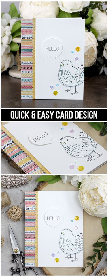Sharing a quick and easy idea for a hello card with a tutorial and quick video. This cute little bird is colored with Copics and fun Kaisercraft patterned paper. The images are from the Bird's the Word Unity Stamp Company stamp set. More inspiration on dahlhouse-designs.com.   #cardmaking #cardmaker #cards #stamping #dahlhousedesigns #unitystampco #handmadecards #hello #birdcards #copics #kaisercraft #diecutting