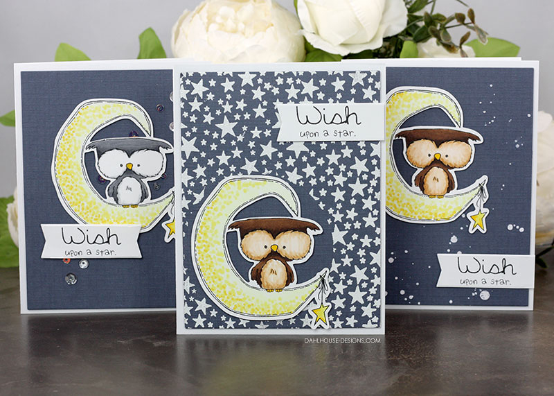 Sharing a set of three cards with different star backgrounds plus a tutorial and quick video. The images are from the The Owl & The Moon Unity Stamp Company stamp set. More inspiration on dahlhouse-designs.com. #cardmaking #cardmaker #cards #stamping #dahlhousedesigns #unitystampco #handmadecards #diecutting #diy #carddesign #copics #markers #coloring #embossing #birthdaycard #starbackgrounds #cardcraft