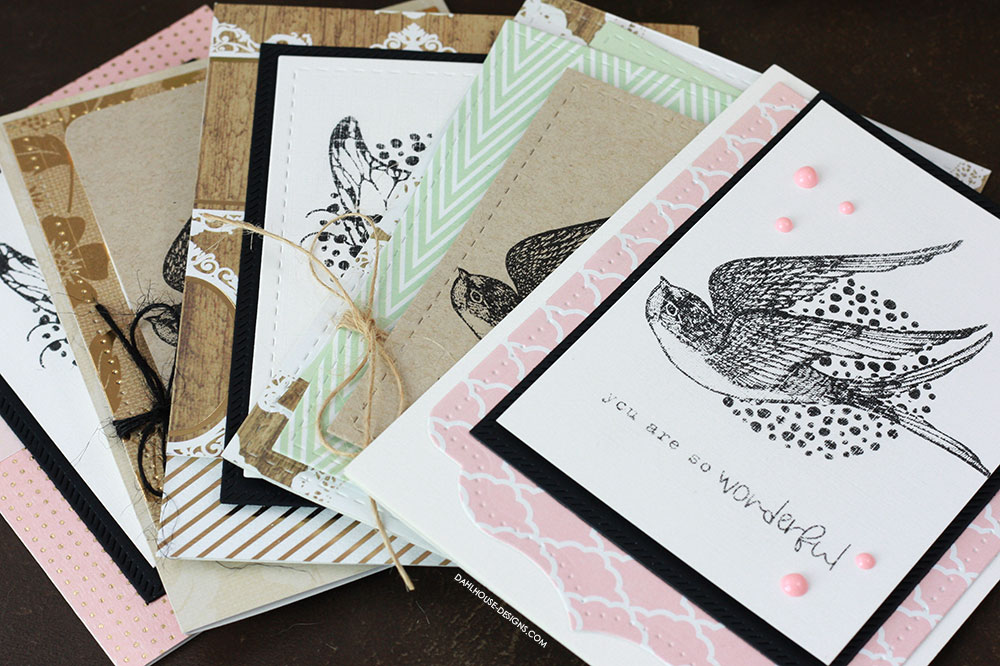 Sharing five simple card ideas perfect for easy card sets with a tutorial & quick video. Lots of ideas for gift sets for Christmas. The images are from the Wonderful and Simple Things Unity Stamp Company stamp set. More inspiration on dahlhouse-designs.com. #cardmaking #cardmaker #cardmakingideas #cardinspiration #simplecards #stamping #dahlhousedesigns #unitystampco #handmadecards #diecutting #carddesign #cardtechnique #giftcardset