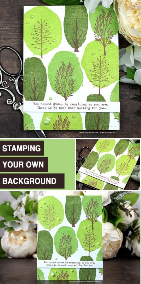 Sharing a simple card idea for creating your own tree patterned background with a tutorial & quick video. The images are from the Beautiful Things Change Unity Stamp Company stamp set. More inspiration on dahlhouse-designs.com. #cardmakingideas #cardmaker #cardmakingideas #cardinspiration #simplecards #rubberstamps #dahlhousedesigns #unitystampco #handmadecards #carddesign #cardtechniques #greetingcards #craftersgonnacraft #papercrafting #papercrafts #cardsofinstagram