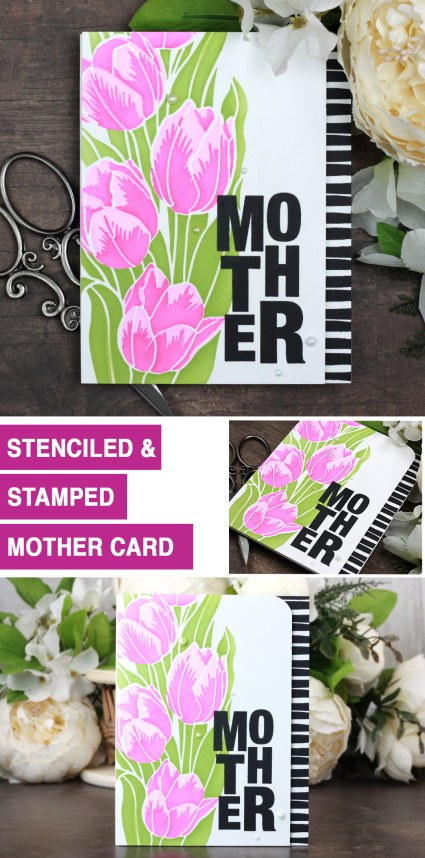 Sharing a simple Mother's Day card idea with a tutorial & quick video. The images and stencil are from the Slimline Layering Tulips Unity Stamp Company stamp set. More inspiration on dahlhouse-designs.com. #cardmakingideas #cardmaker #cardmakingideas #cardinspiration #simplecards #rubberstamps #dahlhousedesigns #unitystampco #handmadecards #carddesign #craftersgonnacraft #papercrafting #papercrafts #mothersday #tulips #stencils #ginak