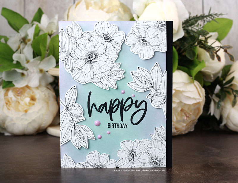 Sharing a beautiful birthday card idea with ink blending and a boarder of floral stamps. The images are from the You Go Girl and Heart of Autumn Unity Stamp Company stamp sets. More inspiration on dahlhouse-designs.com. #ad #cardmaker #cardmakingideas #cardinspiration #rubberstamps #dahlhousedesigns #unitystampco #handmadecards #carddesign #craftersgonnacraft #papercrafting #papercrafts #birthdaycard #gracielliedesigns
